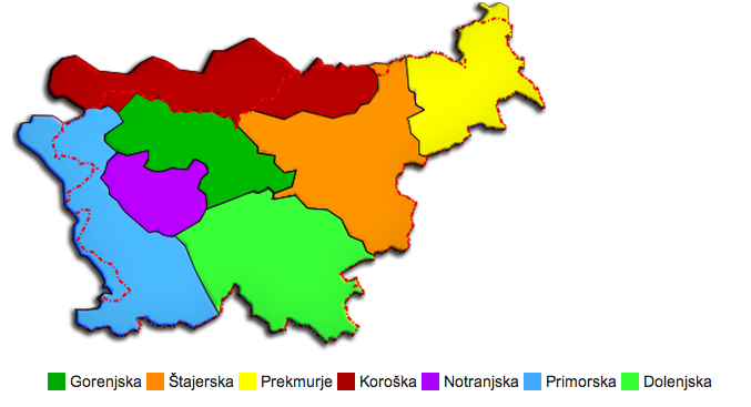 Map of Slovenian dialects