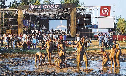 A mud bath at the biggest Slovenian festivals, Rock Otočec