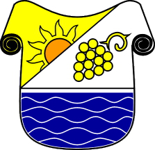 Gornja Radgona coat-of-arms: a shield is a little bit different from the others; the sun shows a sunny land, the grape represents a wine-growing country and the blue area is the Mura river.