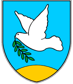 Izola coat-of-arms: a white dove with an olive sprig which flies above a yellow island (in Italian called 'isola').